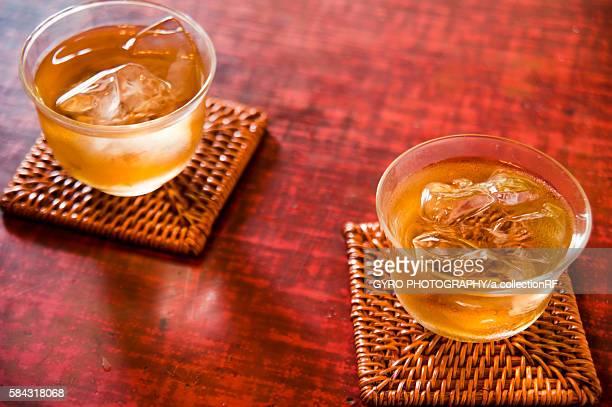 Two glasses of iced barley tea