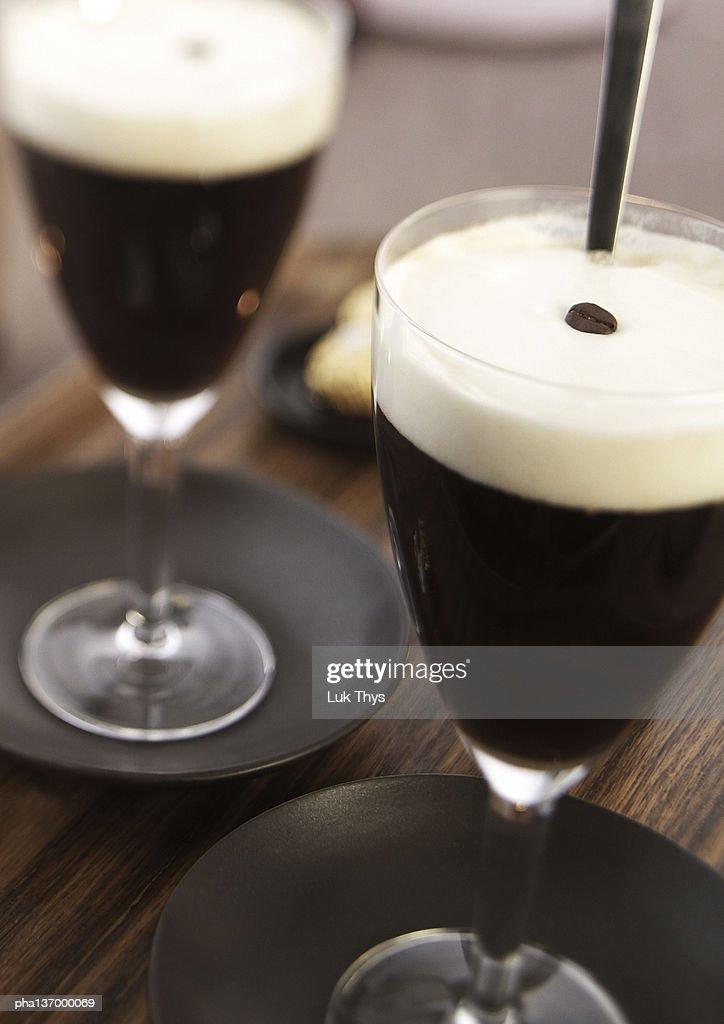 Two glasses of Irish coffee. : Stockfoto