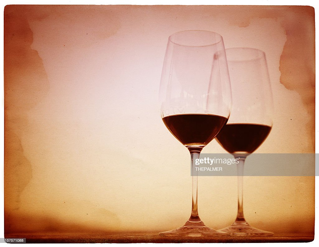 two glasses of red wine : Stock Photo