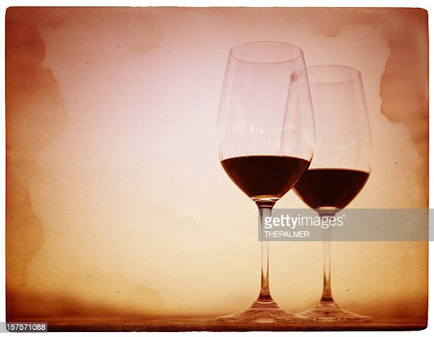 two glasses of red wine - cabernet sauvignon grape stock photos and pictures
