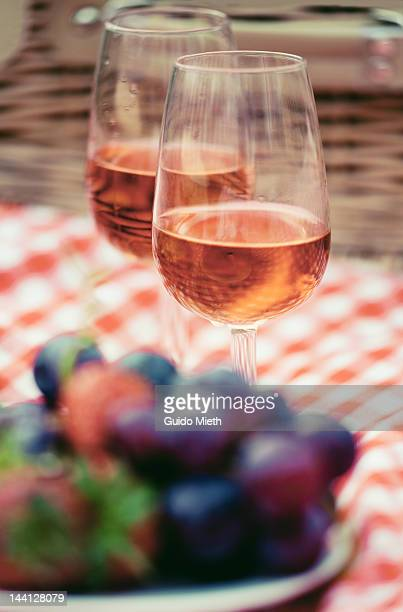 Two glasses of rose at picnic