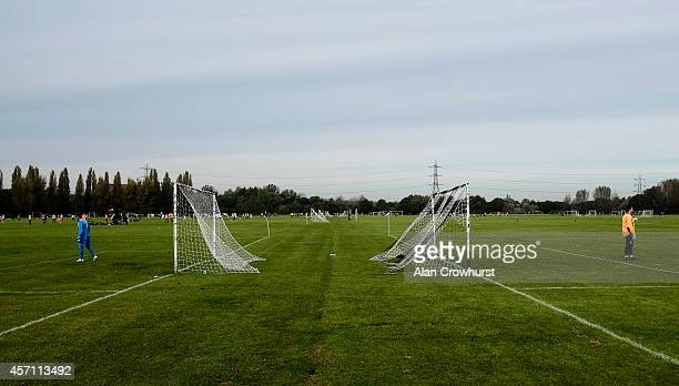 Two goalkeepers stand in the area during Sunday morning Hackney Leyton Football League matches at Hackney Marshes in London on October 12 2014 in...