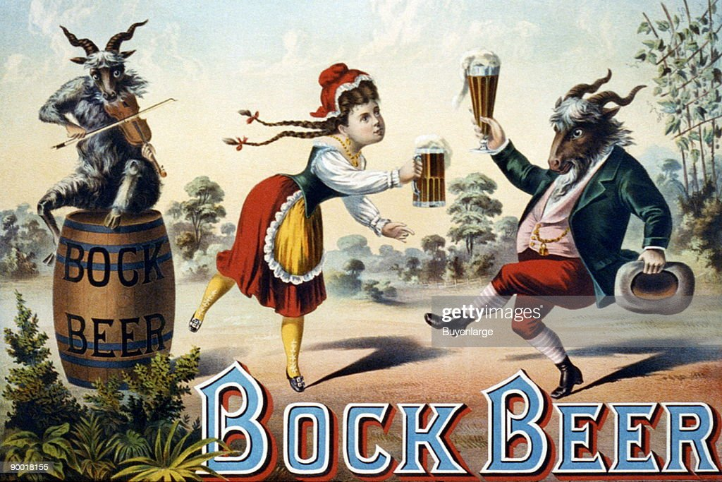 Two goats and a frau celebrate the joys of Bock Beer in this late 19th-century stock poster.