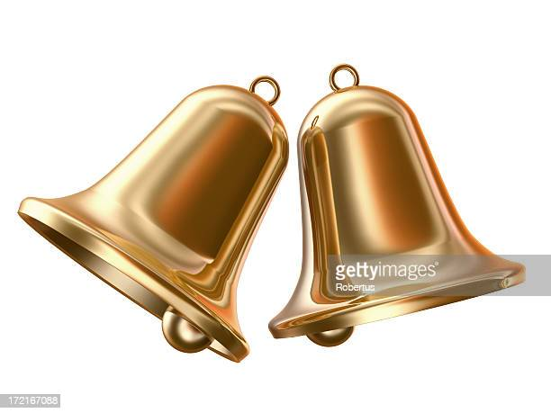 two gold bells on a white background - bell stock pictures, royalty-free photos & images