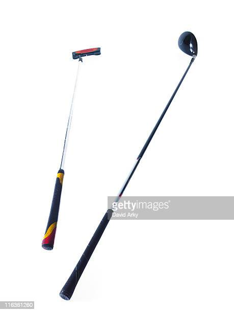 two golf clubs on white background - ゴルフクラブ ストックフォトと画像
