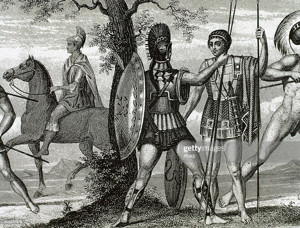 Two Greek soldiers. Hoplite and Helots. : News Photo