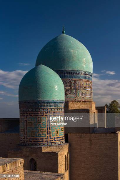 Two green domes at Sheikh Zinda Madrassah Samarkand, Uzbekistan