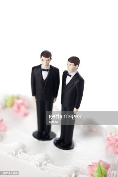 Two grooms on a cake for a gay marriage