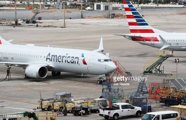 Two grounded American Airlines Boeing 737 Max 8 are seen parked at Miami International Airport on March 14 2019 in Miami Florida The Federal Aviation...