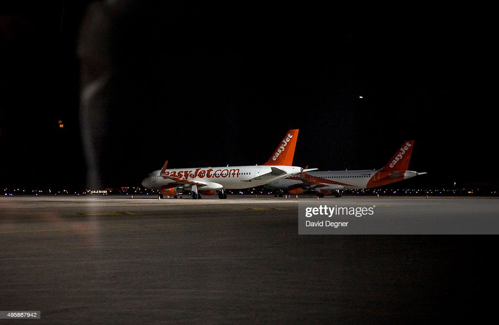 Two grounded EasyJet aircraft sit on the tarmac on November 05, 2015 in Sharm El-Sheikh, Egypt. British airplanes going in and out of the Egyptian resort of Sharm El Sheikh were grounded due to fears of a bomb brought down a Russian plane earlier this week with 20,000 Britons currently in the Red Sea resort. According to a Downing Street Spokesman flights will start bringing back the stranded British tourists tomorrow.
