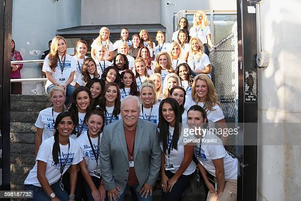 Two groups of Miss America 2017 Contestants pose for photo with the Chef and Pastor Bill Warner after providing assistance to the Atlantic City...