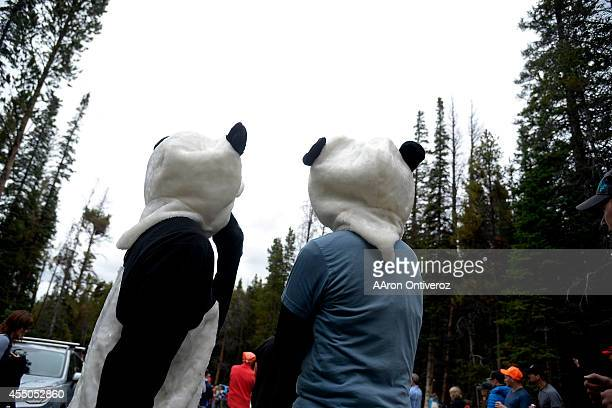 Two grown men in panda costumes wait for the riders to pass during stage 5 The USA Pro Challenge stage 5 on Friday August 22 2014