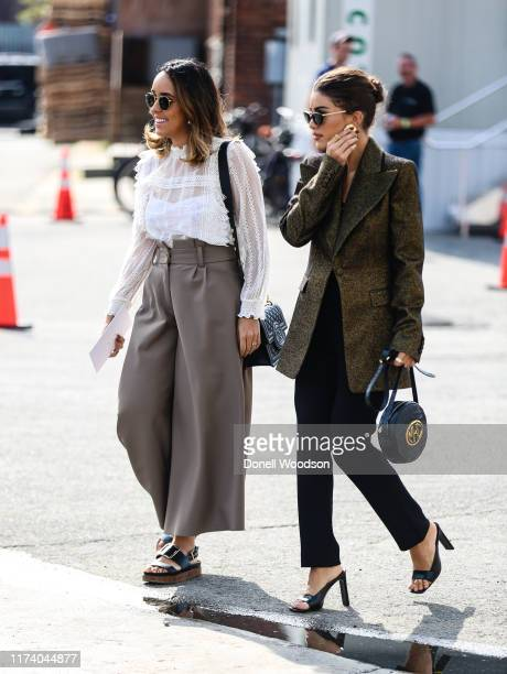 Two guests are seen arriving at a show during New York Fashion Week on September 11 2019 in New York City