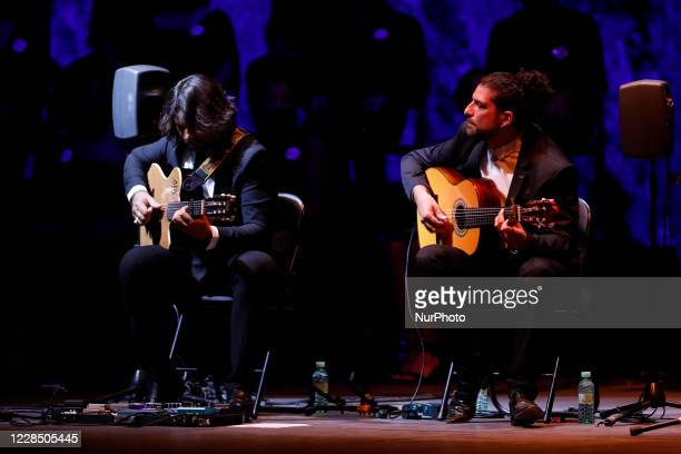 Two guitarists during the opening concert of the Milnoff flamenco music and dance festival on September 13, 2020