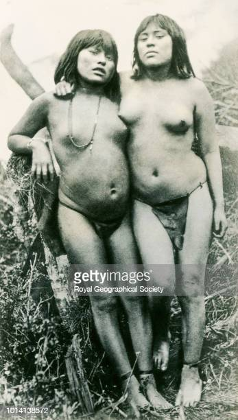 Two half naked young Ona girls posing Tierra del Fuego There is no official date for this image possibly taken between 190118 Tierra del Fuego 1901