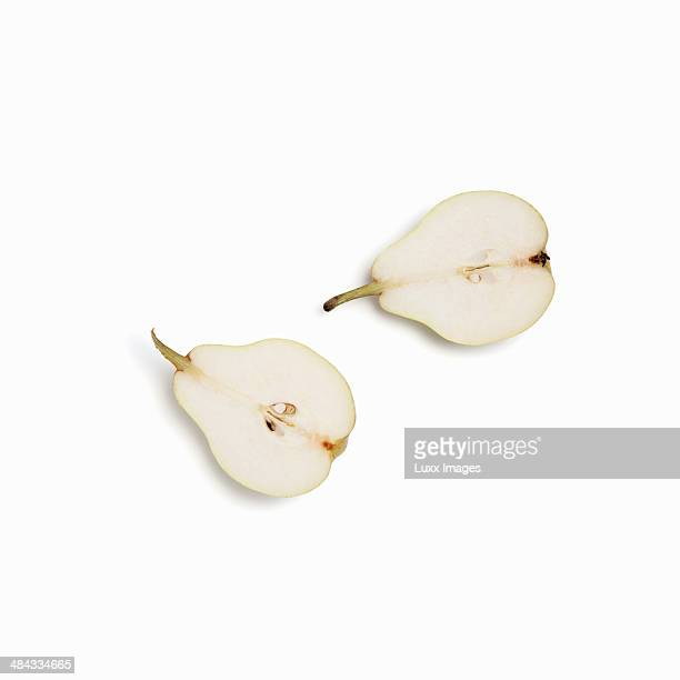 two halves of a pear - pear stock pictures, royalty-free photos & images