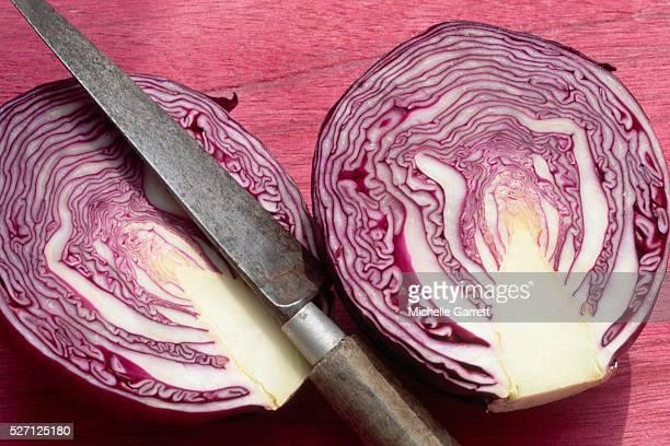 two halves of a red cabbage - rodekool stockfoto's en -beelden