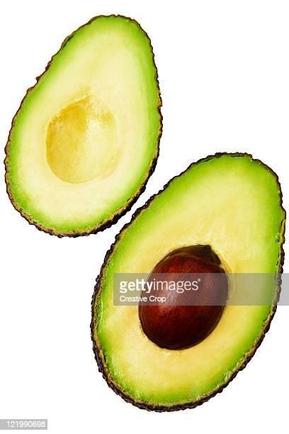 Two halves of an an avocado