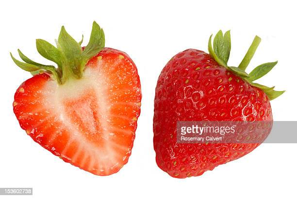 Two halves of fresh, ripe, strawberry.