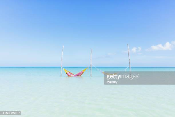 two hammocks in the crystal clear turqoise water at a beach on the island of holbox, mexico - quintana roo stock pictures, royalty-free photos & images