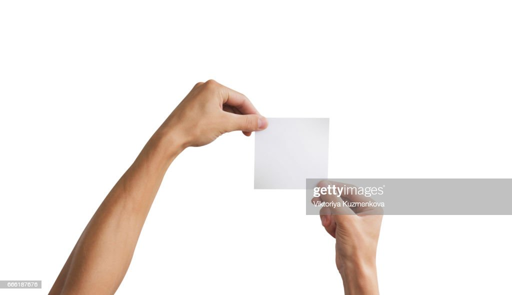 two hand holding square paper in the hand leaflet presentation
