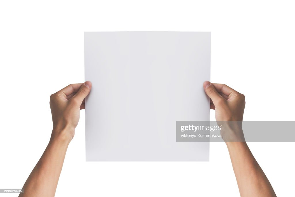two hands holding square paper in the right hand leaflet