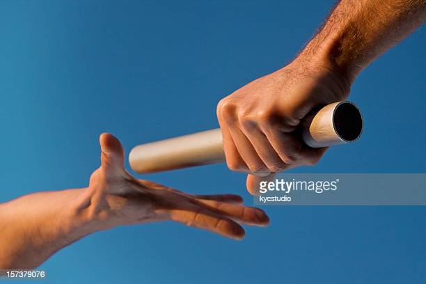 Two Hands Passing Relay Baton Race