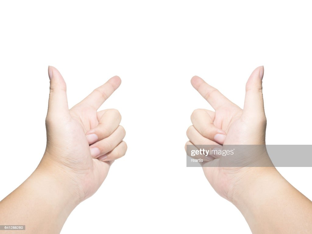 Two Hands Pointing Isolated On White Background Stock Photo Getty