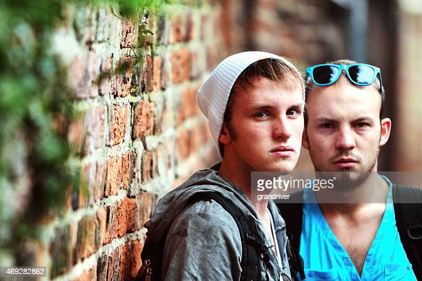 Two Handsome Caucasian Young Men out on the Street
