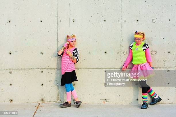 Two Happy Cute Girls in  Retro 1980's Style Colorf