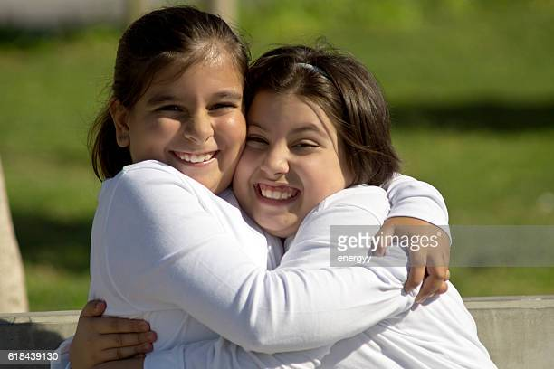 two happy kid girl - fat girls stock photos and pictures