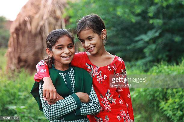 Two happy rural girls