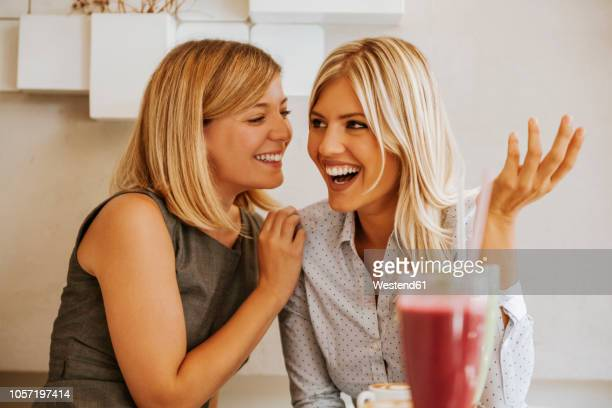 two happy young women in a cafe - rumor stock pictures, royalty-free photos & images