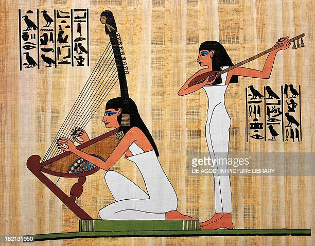 Two harp and lute players papyrus reconstruction of a fresco from the Theban tomb of Rekhmara original dating back to the Dynasty XVIII Egyptian...