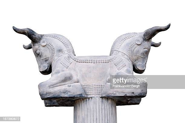 two headed bull - persepolis stock pictures, royalty-free photos & images