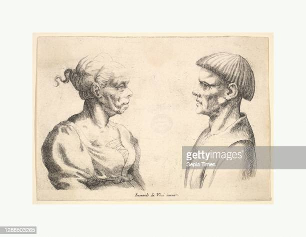 Two heads, 1625–77, Engraving, only state, 3 3/4 x 5 5/16 in. Impression clipped at sides, Prints, Wenceslaus Hollar , After Leonardo da Vinci ,...