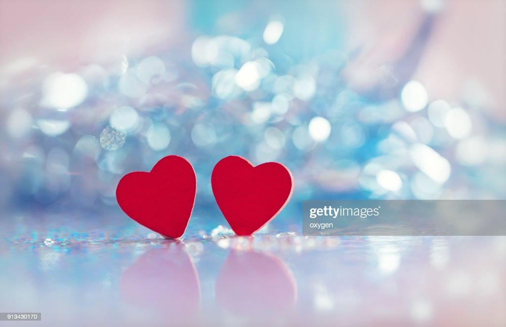 Two Heart shapes with bokeh background for valentines day : Stock Photo
