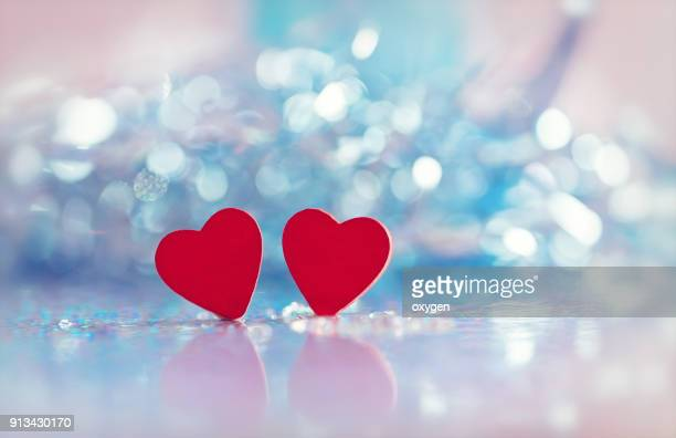 Two Heart shapes with bokeh background for valentines day