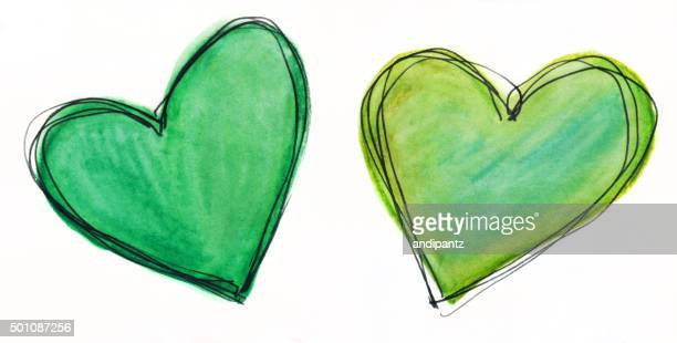 Two hearts painted with shades of green on white background