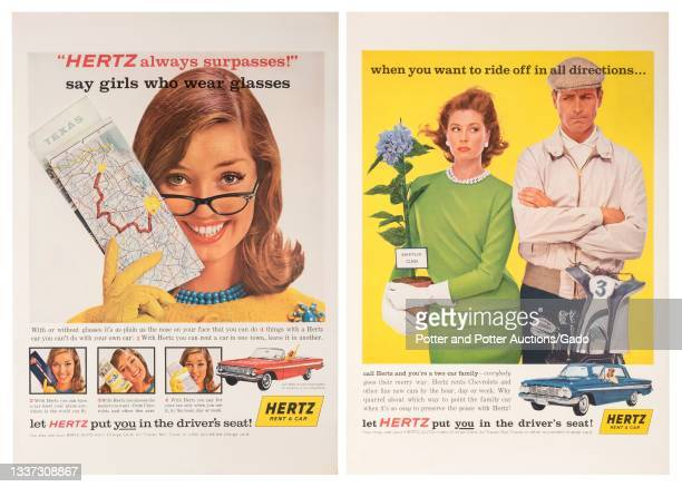 Two Hertz rental car travel posters, advertising rental cars for singles and couples, designed by Hunter for The Hertz Corporation, 1965.
