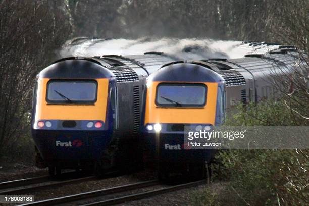 CONTENT] Two High Speed Trains pass on Filton Bank in Lockleaze Bristol One is heading to Bristol Temple Meads the other to London Paddington