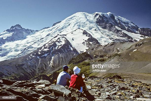 Hikers Looking at Mount Rainier