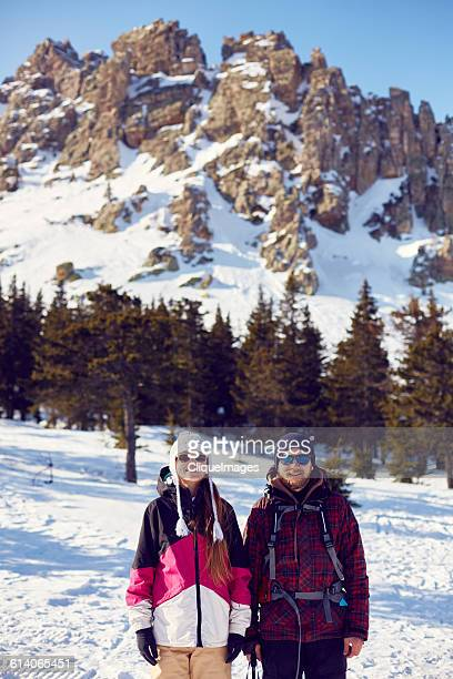 two hikers at the mountain - cliqueimages stock pictures, royalty-free photos & images