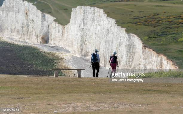 Two Hikers near the Seven Sisters Cliffs