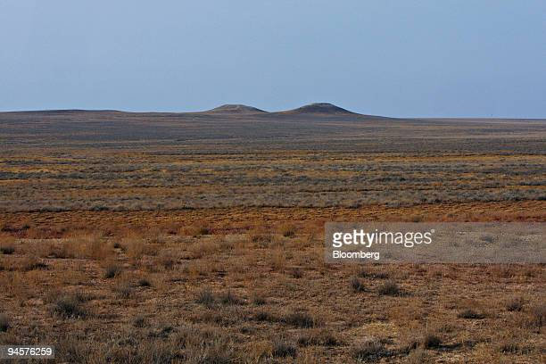Two hills rise from the steppe near the East Mynkuduk uranium mine in Kyzemshek Kazakhstan on Thursday Oct 18 2007 Local legend has it that the hills...