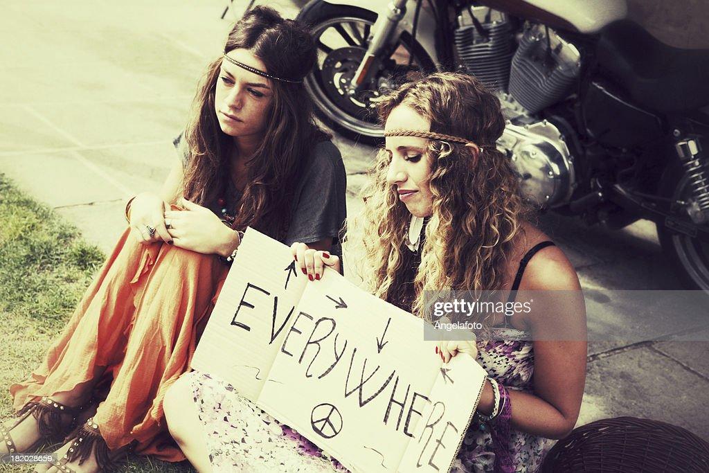 Two Hippies Women : Stock Photo