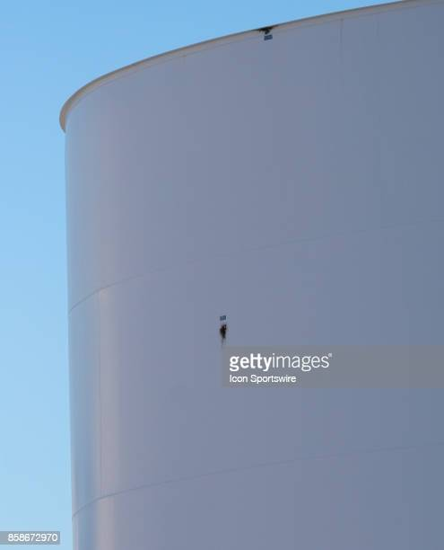 Two holes from bullets on a airplane fuel tank behind the Route 91 Harvest Festival grounds on October 6 after a mass shooting that killed 59 people...