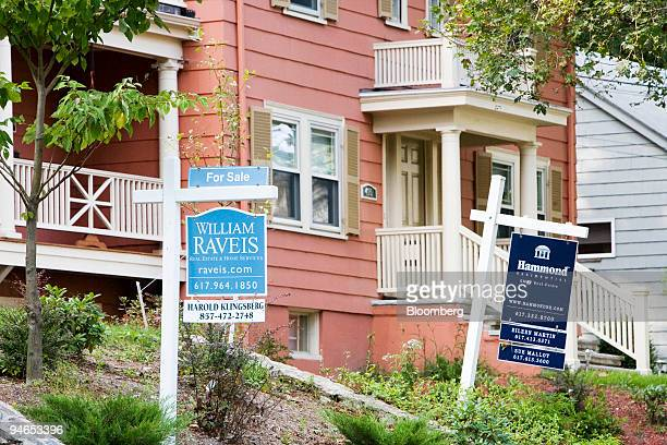Two homes for sale in in Newton Massachusetts on Monday September 25 2006 Sales of previously owned homes in the US fell in August to the lowest...