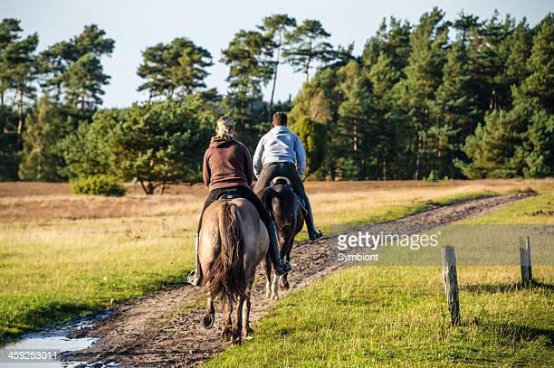 Two horsemen galloping on horses