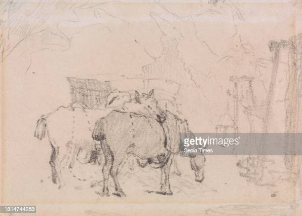 Two Horses, Edward William Cooke, 1811–1880, British, undated, Graphite on medium, slightly textured, beige, wove paper, Sheet: 3 1/8 × 4 1/8 inches...